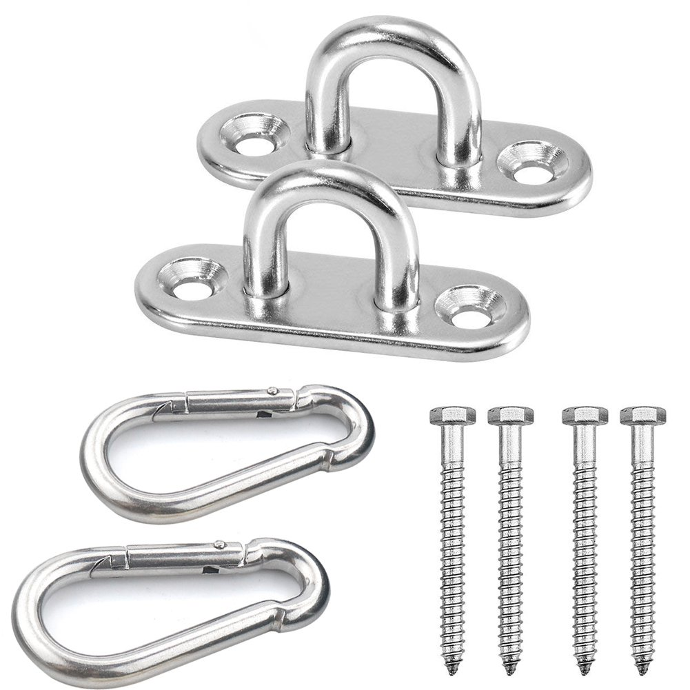 Abimars Premium Hammock Hooks Heavy Duty Yoga Hanging Kit - All Stainless Steel Pad Eyes Ceiling Hanger, Snap Hook Carabiners and Screws Accessories - Capacity up to 600 LBS FUZE
