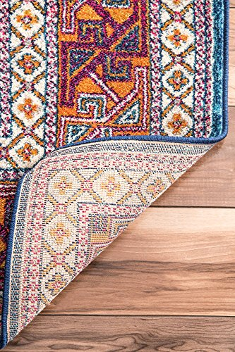 """nuLOOM Marisela Tribal Runner Rug, 2' 8"""" x 8', Navy - Features a Novelty design Construction: machine made Material is 100% polypropylene - runner-rugs, entryway-furniture-decor, entryway-laundry-room - 613hzGaGbgL -"""