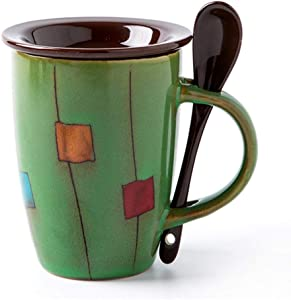 Funny Mugs, 12 Oz Vintage Ceramic Mug, Tea Cup With Lid and Spoon, Office and Home Enamel Mugs (Green)