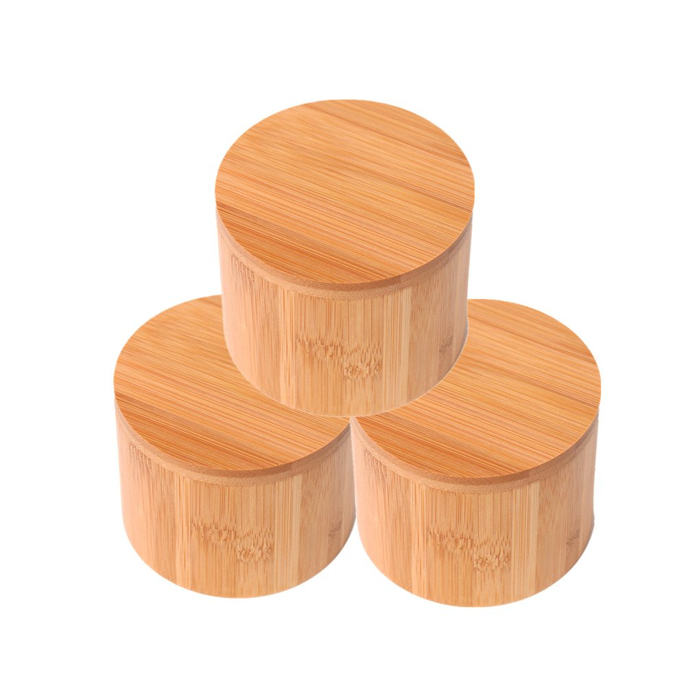 Wansu 3Pack Round Bamboo Salt/Spices/Pepper/Tea Box Jar Set,With Magnetic Lid For Secure Storage