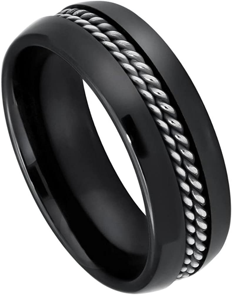 8mm Black Ceramic with Double Rope Stainless Steel Inlay Wedding Band Ring For Men Or Ladies