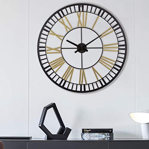 Gold Black 32 Inch Large Industrial Wall Clock