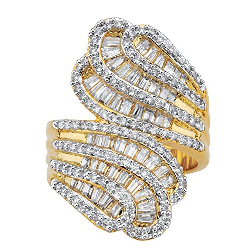 Palm Beach Jewelry 14K Yellow Gold-plated Baguette-Cut and Round Cubic Zirconia Tapered Bypass Ring Size 8 14k Yellow Tapered Baguette