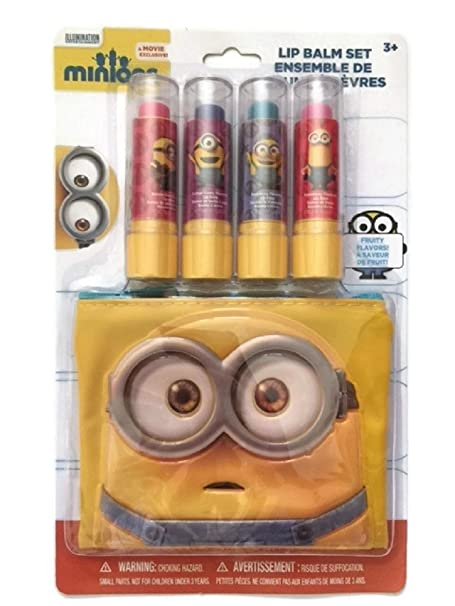 Amazon.com : Minions Lip Gloss Bundle Mirror Bag Play Pack Stickers Coloring Book Fun Size Crayons : Beauty