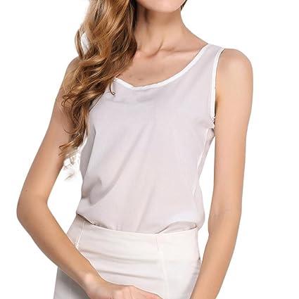 Tops,Ba Zha Hei Chaleco sin mangas para mujer camisa de gasa color sólido camisa
