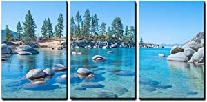 "wall26 - 3 Piece Canvas Wall Art - Beautiful Blue Clear Water on The Shore of The Lake Tahoe - Modern Home Decor Stretched and Framed Ready to Hang - 24""x36""x3 Panels"