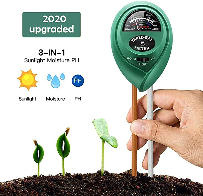 MeetSun's Soil pH Test Kit, Measures Moisture, Light, and pH Levels - Precision