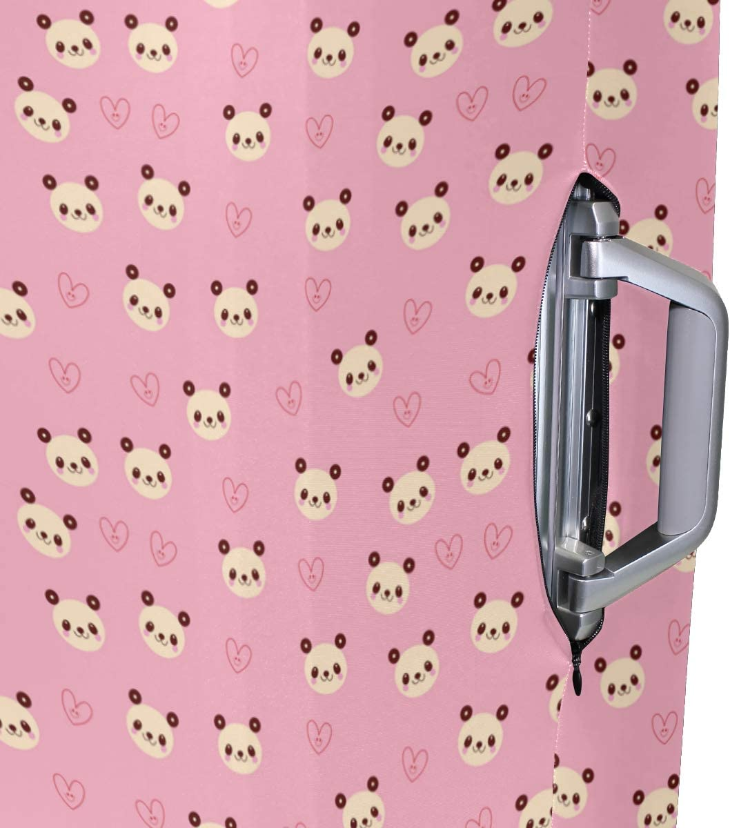 Fashion Travel Panda Bear Heart Pink Luggage Suitcase Protector Washable Baggage Covers