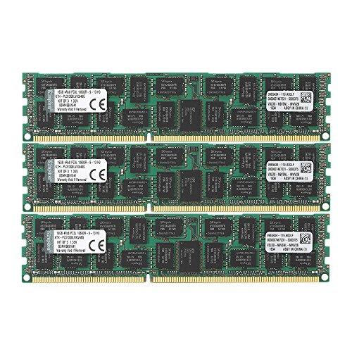 Kingston 48GB Kit 3x16GB 1333MHz DDR3 PC3-10666 Reg ECC Quad Rank X8 Low Voltage Memory for Select HP/Compaq Servers -