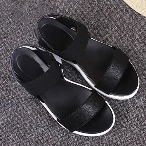 Sommer 2017 Toe Sandalen Damen Sandalen Peep Schwarz niedrigem mit Schuhe Absatz Transer® Flache Damen PRZ6dUd