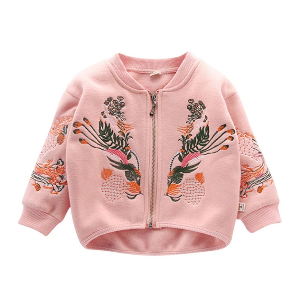 Shiningup Baby Girl Cardigan Long Sleeve Jumper Embroidered Fashion Spring Outwear Jacekt Coat Age 1-6 Years Old