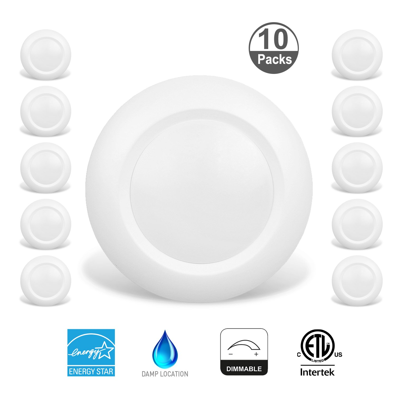 JULLISON 10 Packs 4 Inch LED Low Profile Recessed & Surface Mount Disk Light, Round, 10W, >600 Lumens, 3000K Soft White, CRI80, DOB Design, Dimmable, ENERGY STAR, ETL Listed, White