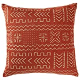Rivet Mudcloth-Inspired Pillow, 17'' x 17'', Spice