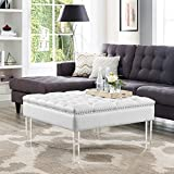 Cheap Coco White PU Leather Ottoman -Oversized|Button Tufted|Nailhead Trim|Acrylic Legs|Inspired Home