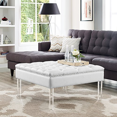 Inspired Home Coco White PU Leather Ottoman -Oversized|Button Tufted|Nailhead Trim|Acrylic Legs