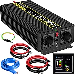 3000W KFZ Reiner Sinus Spannungswandler - Auto Wechselrichter 12v auf 230v Umwandler - Inverter Konverter mit 2 EU…