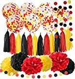 Mickey Mouse Birthday Decorations Mickey Mouse Color Party Supplies Yellow Black Red Confetti Ballons Tissue Paper Pom Pom Tassel Garland Mickey Garland Baby Shower Decorations
