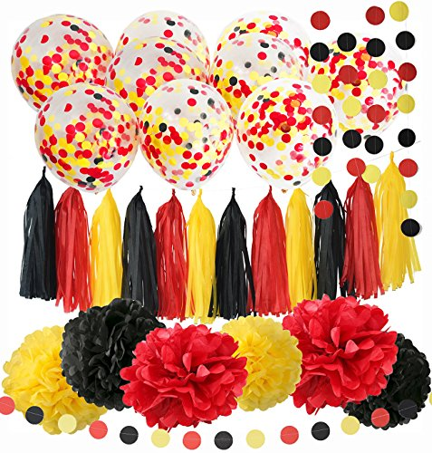 Mickey Mouse Birthday Decorations Mickey Mouse Color Party Supplies Yellow Black Red Confetti Ballons Tissue Paper Pom Pom Tassel Garland Mickey Garland Banner (Mickey Mouse Party Supplies 1st)