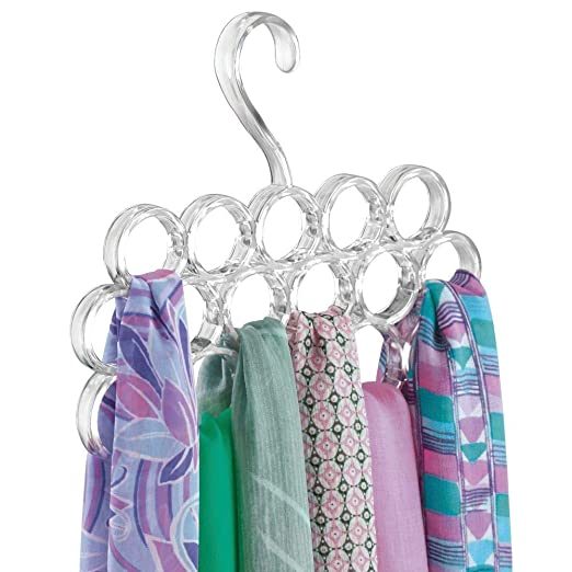 mDesign Juego de 2 perchas para pañuelos – Perchas organizadoras para chales, fulares, bufandas y corbatas – Organizador de armarios para accesorios ...