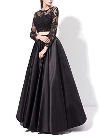 FNKS Womens Sexy Sheer Lace Long Sleeve Two Piece Prom Dresses Evening Gowns (US12,