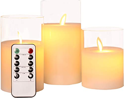 ACROSS Flickering Flameless Candles with Glass Holder, Set of 3 H4 5 6 xD3 Battery Operation Real Wax Realistic Dancing Wick Led Pillar Candles with Remote Cycling 24 Hours Timer
