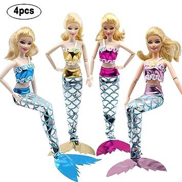 WENTS Traje de Sirena de Muñeca 4 pcs Hermosas Sirenas Exquisitas ...