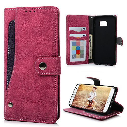 Black Leather Wrapped Snap (S7 Edge Case,Samsung Galaxy S7 Edge Case - Badalink Wallet Flip Folio Premium Suede Leather Extra Card Holder Design Soft TPU Inner Cover with Snap Fastener & Card Holders &)