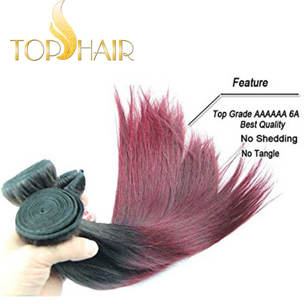 Amazon Top Hair Peruvian Ombre Burgundy Hair Extensions Black