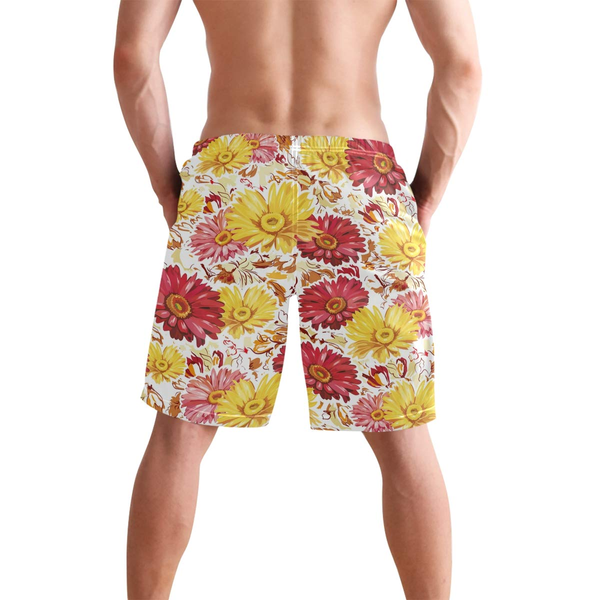 DEYYA Mens Colorful Daisy Flower Swim Trunks Beachwear Summer Holiday Beach Shorts Quick Dry