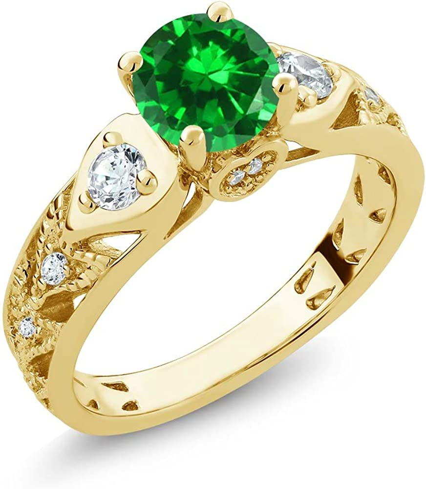 Gem Stone King 2.76 Ct Round Green Simulated Emerald 18K Yellow Gold Plated Silver Engagement Ring