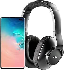 Samsung Galaxy S10+ Plus Factory Unlocked Phone with 512GB (U.S. Warranty), Ceramic White w/AKG N700NC M2 Headphones