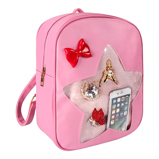 37aef4870ca2 xhorizon FL1 Candy Leather Backpack Plastic Transparent Star Beach Girls  School Ita Bag (Pink)