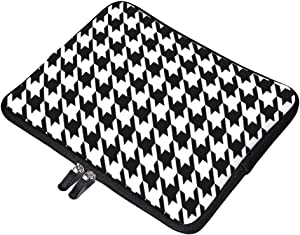 """Black and White Houndstooth Pattern Neoprene Soft Sleeve Case for MacBook 12 Inch & MacBook Air 11.6 Inch and Laptop up to 12"""" Ultrabook, Chromebook Bag Cover"""