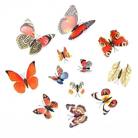 Cinlla 3D Butterfly Wall Stickers DIY Butterfly Wall Decals Wall Art ...
