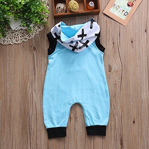 Glosun Newborn Baby Girl Boys Sleeveless Cross Pattern Romper Jumpsuit Outfits with Hat