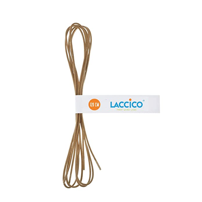 143aba10c74a5 LACCICO - Men's Round Waxed Shoelaces Diameter Ø 1/8' (2.0 mm) - LIGHT BROWN