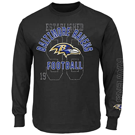 fe4fdf2f61d Majestic Baltimore Ravens Black Power Technique Long Sleeve T Shirt By  (X-Large)