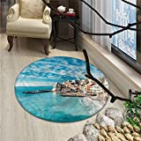 yoga italian charm - Italy Round Rugs for Bedroom Panorama of Old Italian Fishing Village Beach in Old Province Coastal Charm ImageOriental Floor and Carpets Turquoise
