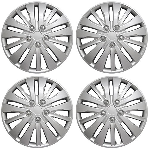 (16 inch Hubcaps Best for 2008-2012 Honda Accord - (Set of 4) Wheel Covers 16in Hub Caps Silver Rim Cover - Car Accessories for 16 inch Wheels - Snap On)