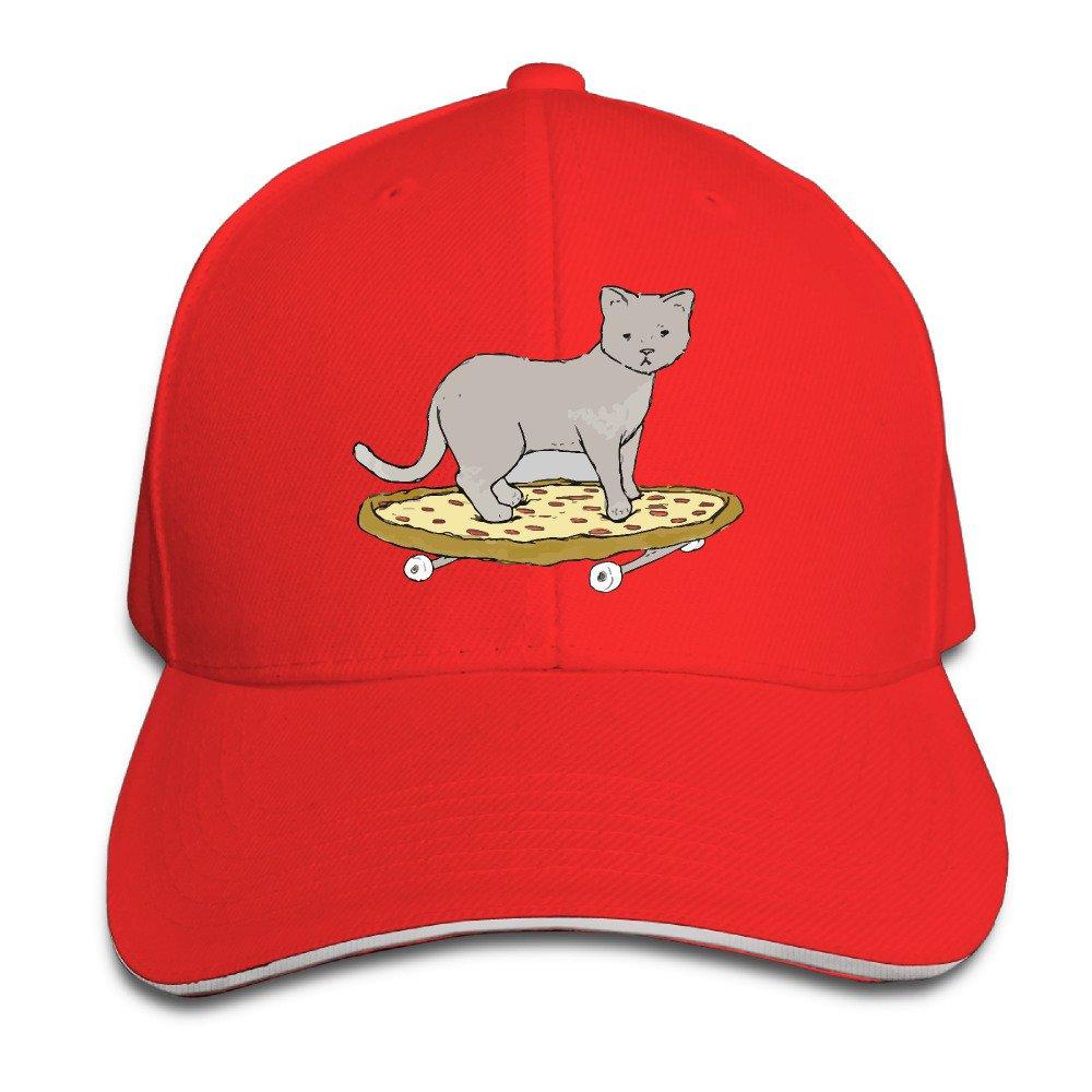 Cat On Pizza Skateboard Sandwich Cap Snapback Hat Red