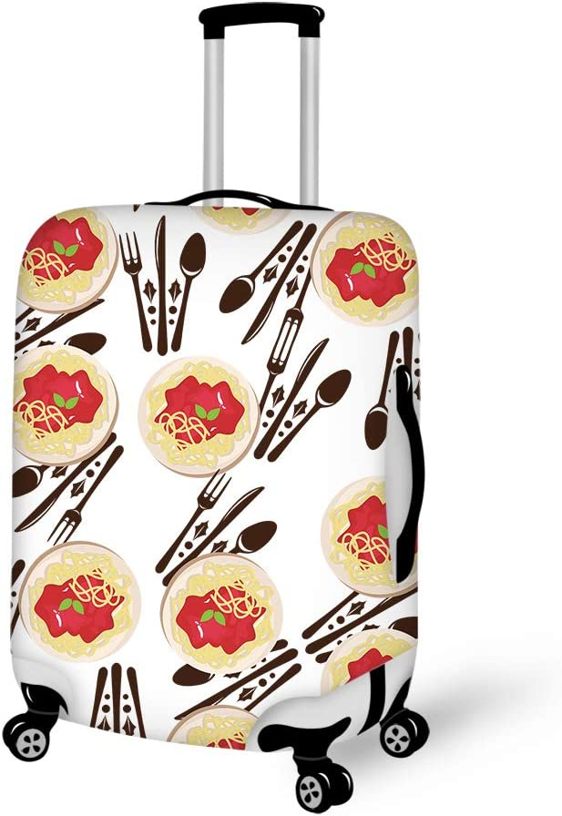 I Love Spaghetti Italian Pasta Spaghetti Dinner 18-21 inch Travel Luggage Cover Spandex Suitcase Protector Washable Baggage Covers