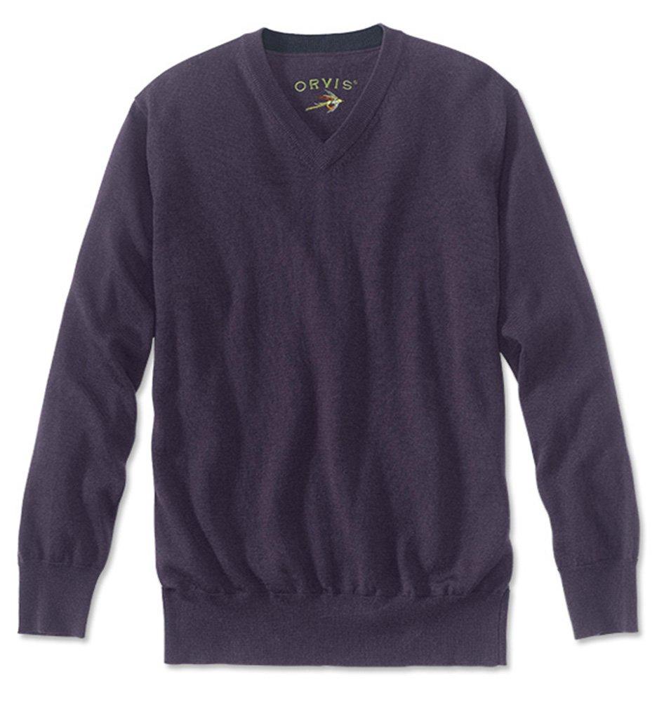 Orvis Merino Wool V-Neck Sweater, Dark Purple, Medium
