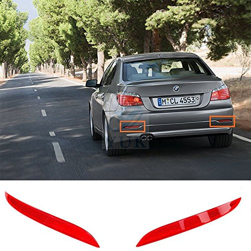 Yuk par parachoques trasero reflector luz de aviso rojo lente para BMW 2008-2010 E60 E61 525i 528i 530i 550i