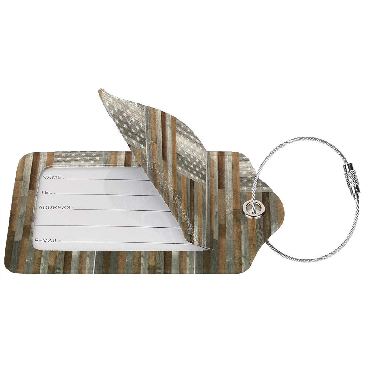 Artiswall American Flag Reclaimed Wood Leather Luggage Tags Personalized Privacy Cover With Adjustable Strap