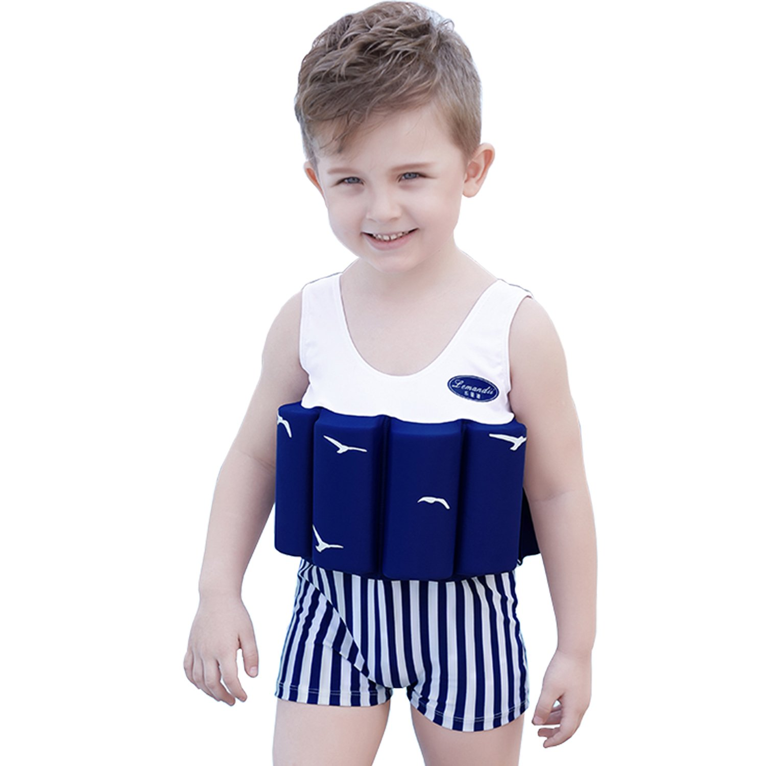 bluee 110 ONMet Baby Kids Floatation Suit With Detachable Float Adjustable One-Piece Swimwear Buoyancy for Girls Boys Age 4-10 Year Toddler Swim Trainer(Swimming Cap Included)