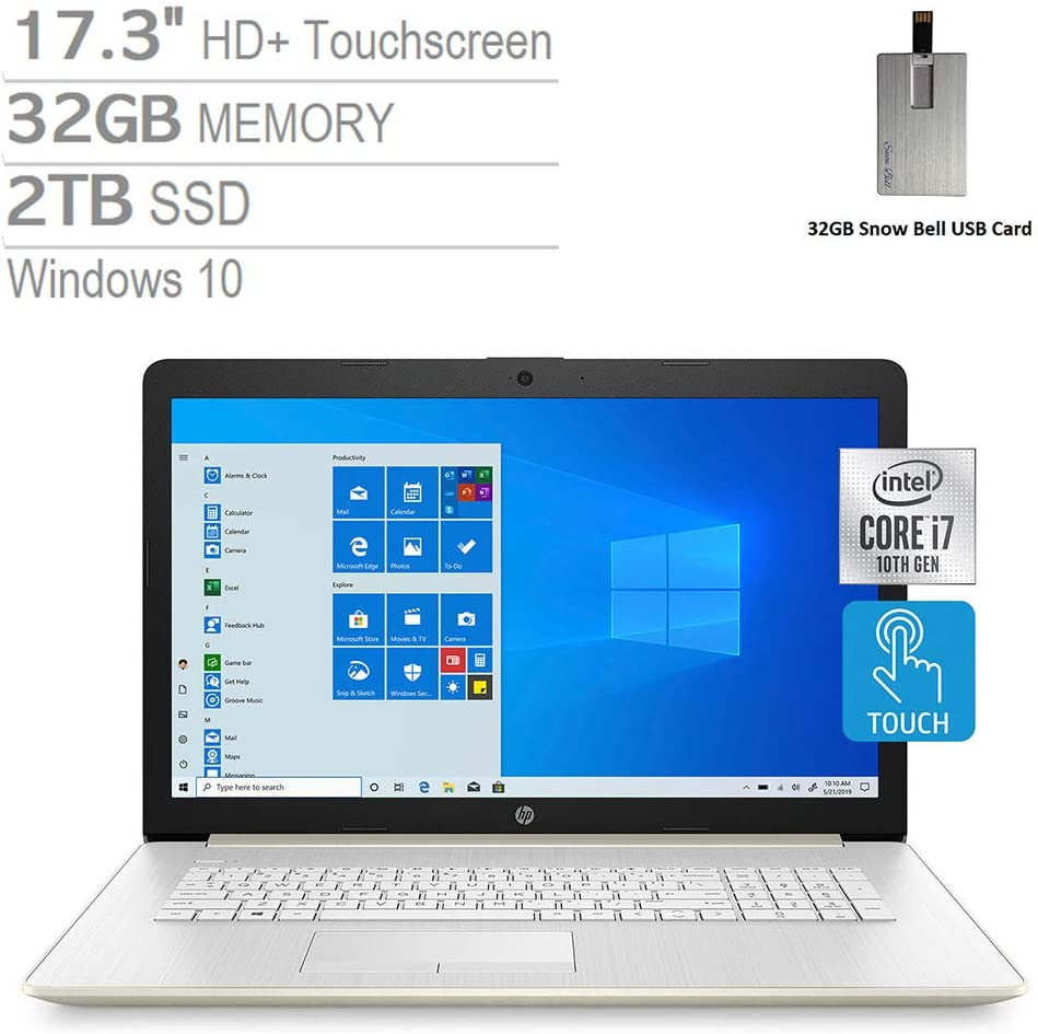 "2020 HP Pavilion 17.3"" HD+ Touchscreen Laptop Computer, Intel Core i7-1065G7, 32GB RAM, 2TB PCIe SSD, Backlit Keyboard, HD Audio, HD Webcam, Intel Iris Plus Graphics, Windows 10, Gold, 32GB USB Card"