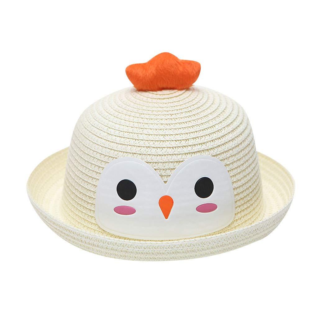 Unisex Toddler Children Kids 3D Animal Print Straw Caps Breathable Cartoon Ears Sunhats Cute Roll Up Brim Beach Hats (White)