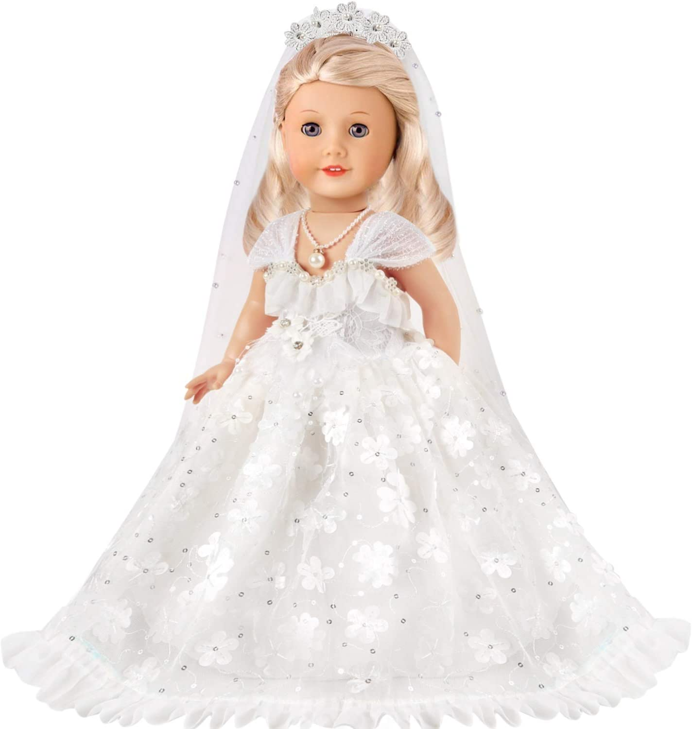 Wedding Dress lausomile 18 Inch Doll Wedding Dress Fit American Doll Girl Clothes and Accessories Outfit with White Bride Gown Long White Veil Necklace 3 PCS