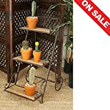 Tiered Plant Stand Planter Corner Rack Rustic Patio Unique Metal Frame Multiple Plants Pot Rack Outdoor Furniture & E book By Easy2Find