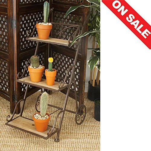 Tiered Plant Stand Planter Corner Rack Rustic Patio Unique Metal Frame Multiple Plants Pot Rack Outdoor Furniture & E book By Easy2Find by STS SUPPLIES LTD